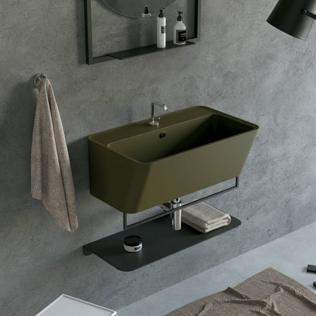 Colavene Wynn 70 cm bathroom composition suspended with sink, cabinet and backlit mirror